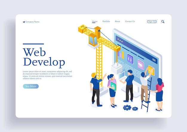 Desarrollo de aplicaciones y concepto de inicio lanzar un nuevo producto en un mercado concepto de página de destino