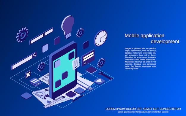 Desarrollo de aplicaciones móviles, codificación de programas, programación web, ilustración de concepto isométrico 3d plano