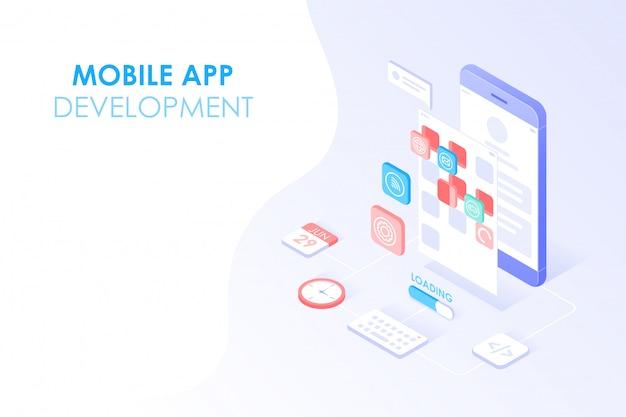 Desarrollo de aplicaciones móviles y diseño web concepto isométrico. prueba de aplicaciones e interfaz de usuario en capas en la pantalla del teléfono inteligente para el fondo del banner web.