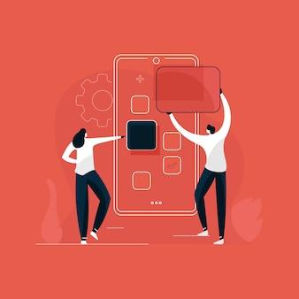 Desarrollo de aplicaciones móviles ilustración conceptual, er y desarrollador uso de pantalla grande con herramientas de creación de sitios