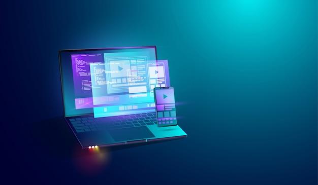 Desarrollo de aplicaciones móviles en pantalla de laptop.