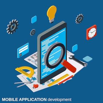 Desarrollo de aplicaciones móviles plano isométrico vector concepto ilustración