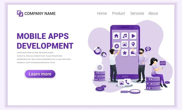 Desarrollo de aplicaciones móviles para plantilla de página de destino.