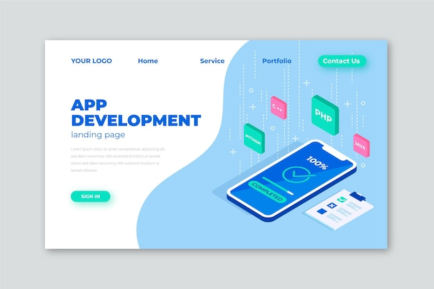Desarrollo de aplicaciones: página de destino