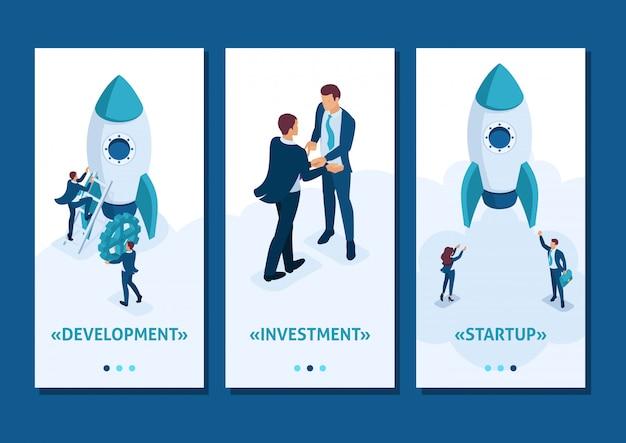 Desarrollo de aplicaciones de plantillas isométricas y negocios de inicio. los empresarios crean un cohete, aplicaciones para teléfonos inteligentes