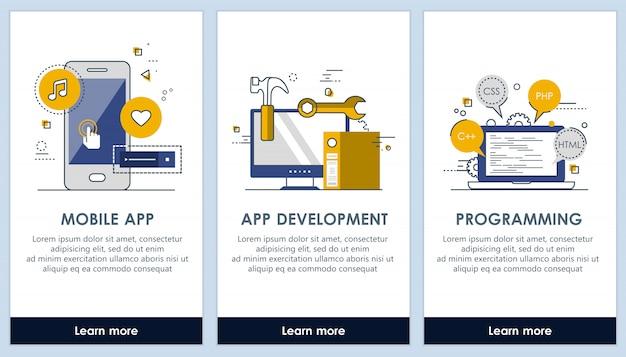Desarrollo de aplicaciones y plantillas de pantalla de programación.