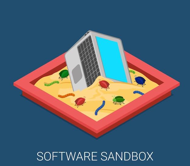 Desarrollo de aplicaciones de software malicioso de escritorio sandbox depuración isométrica plana