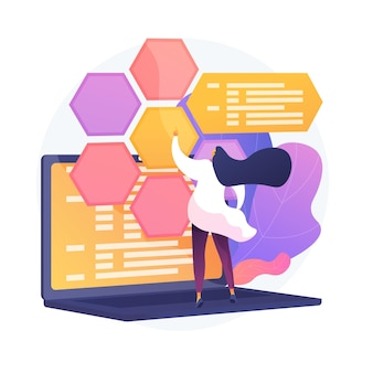 Desarrollo y codificación web. ti, optimización de sitios web, pruebas de software informático. programador y desarrollador trabajando personaje plano femenino.