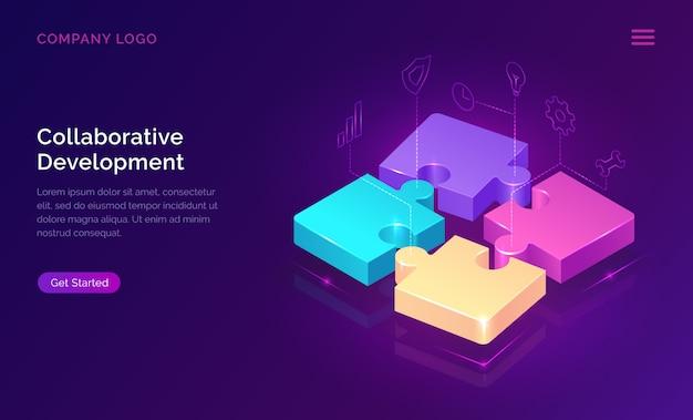 Desarrollo colaborativo, concepto isométrico.