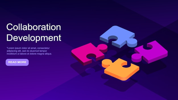 Desarrollo colaborativo, concepto de negocio isométrico.