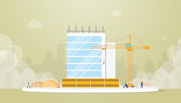 Desarrollo de la construcción del edificio con un ingeniero en equipo y grúa con estilo plano moderno