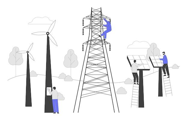 Desarrollo de energía verde sostenible, concepto de protección del medio ambiente y la ecología.