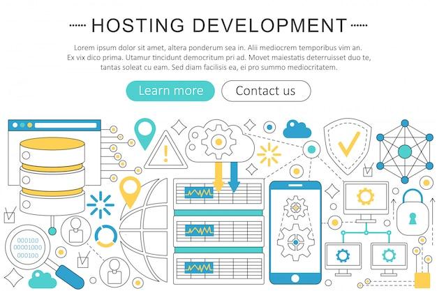 Desarrollo de hosting concepto de línea plana.