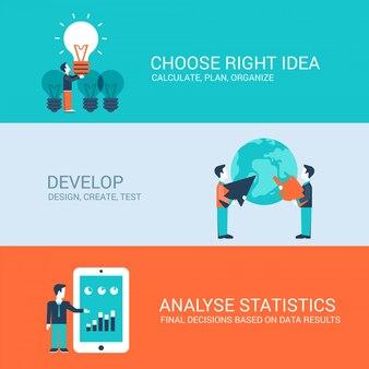 Desarrollo de ideas correctas y análisis de estadísticas planas conceptos ilustraciones conjunto.