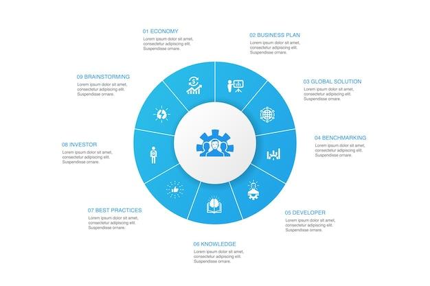 Desarrollo infografía diseño de círculo de 10 pasos. solución global, conocimiento, inversor, lluvia de ideas, iconos simples
