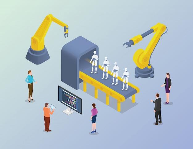Desarrollo masivo de robots con personas desarrolladoras en fábrica con estilo isométrico moderno