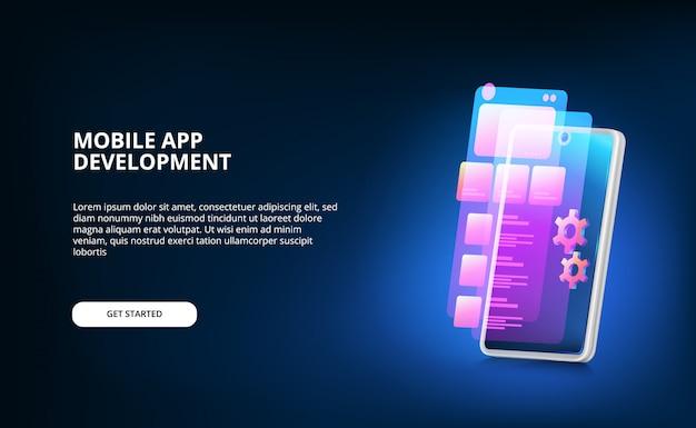 Desarrollo moderno de aplicaciones móviles con diseño de interfaz de usuario de pantalla y máquina de engranajes con color degradado de neón y teléfono inteligente 3d con pantalla brillante.