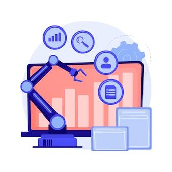 Desarrollo de negocios online, crecimiento gradual, tendencia positiva. indicador de ganancia, gráfico de estadísticas, diagrama. personaje de dibujos animados analista femenino.