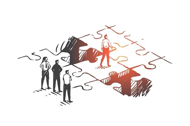 Desarrollo personal, promoción laboral, ilustración del concepto de liderazgo