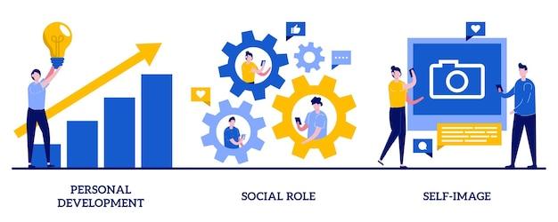 Desarrollo personal, rol social, concepto de autoimagen con personas diminutas. conjunto de capital humano. estereotipos de género, crecimiento profesional, superación personal, coach.