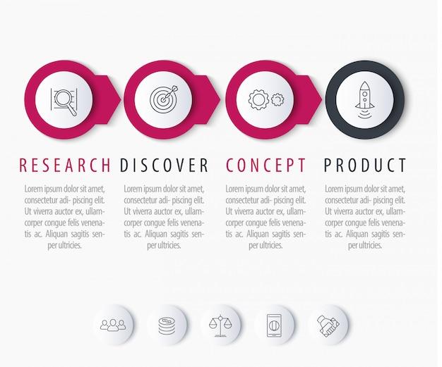 Desarrollo de productos, elementos de infografía, etiquetas de paso con iconos de línea, ilustración