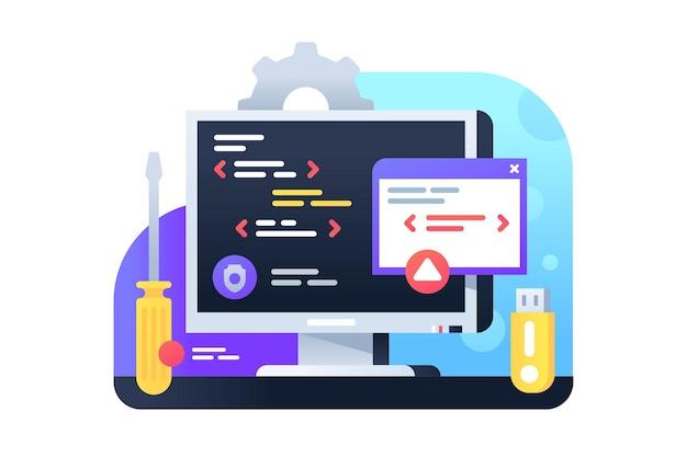 Desarrollo de programación mediante pc y tecnología informática. concepto de icono aislado de la aplicación que utiliza una nueva api para la interfaz de servicios empresariales modernos.