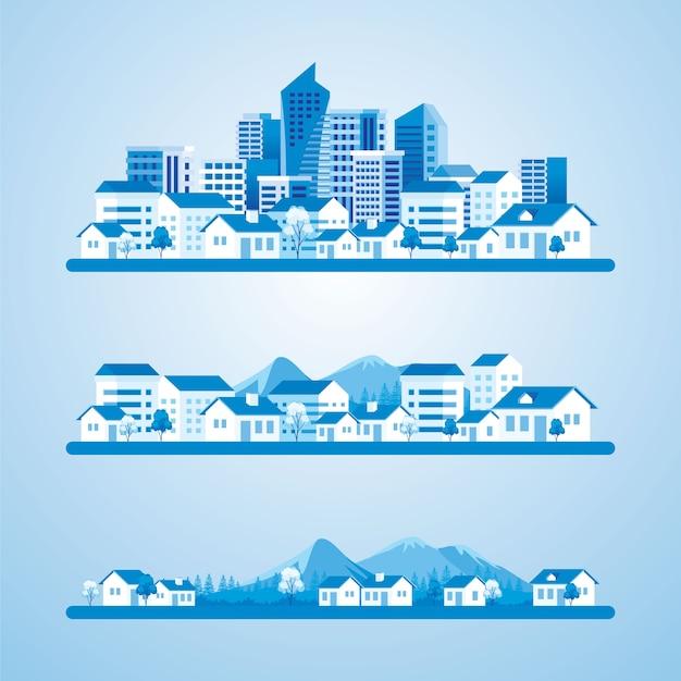 El desarrollo de un pueblo en una ilustración de la ciudad.