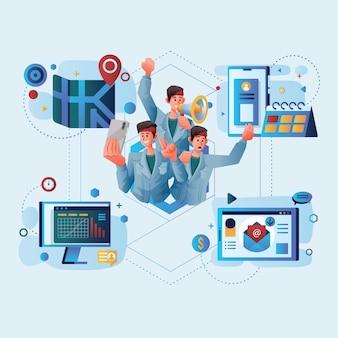 Desarrollo de redes sociales con influencer e ilustración de negocios en internet