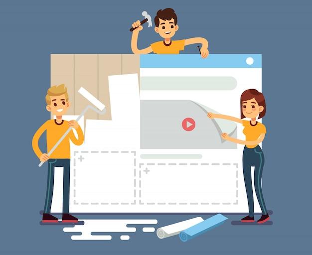 Desarrollo de sitios web con desarrolladores creando contenido. concepto de vector de construcción web