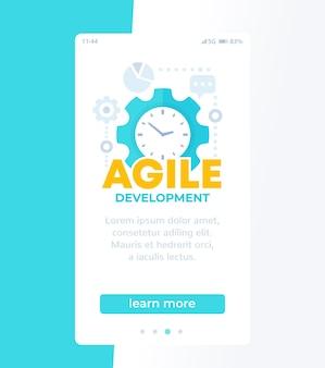 Desarrollo de software ágil, plantilla de vector móvil