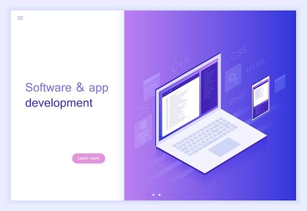 Desarrollo de software y aplicaciones conceptuales, código de programa en la computadora portátil y la pantalla del teléfono, procesamiento de datos grandes ilustración moderna