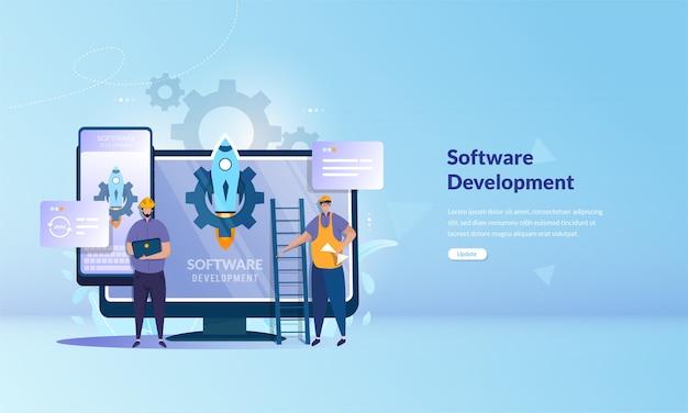 Desarrollo de software para dispositivos móviles y de escritorio en concepto de banner