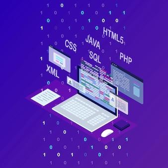Desarrollo de software, lenguaje de programación, codificación. tecnología digital. computadora portátil isométrica