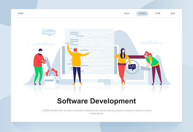 Desarrollo de software moderno concepto de diseño plano.