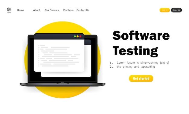 Desarrollo de software, programación, codificación, pruebas de ilustración.