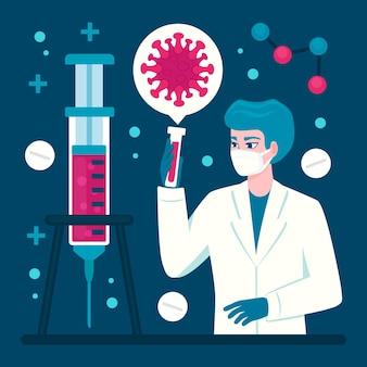 Desarrollo de la vacuna contra el coronavirus con médico y sonda.