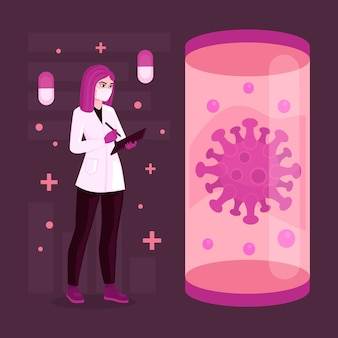 Desarrollo de la vacuna de coronavirus con médico y virus.