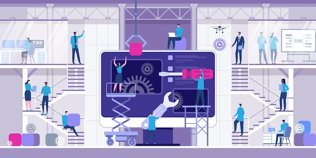Desarrollo web y codificación ilustración plana