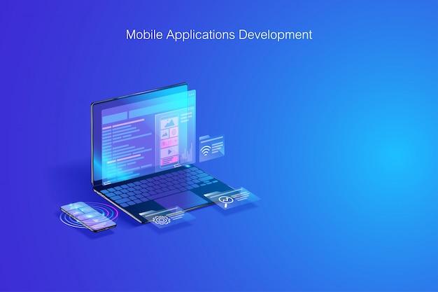 Desarrollo web, codificación de software, desarrollo de programas en concepto de computadora portátil y teléfono inteligente