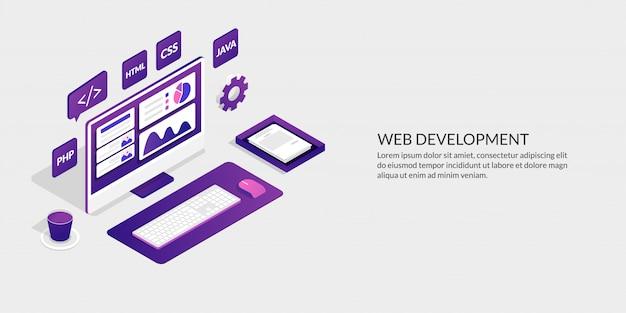 Desarrollo web y concepto de diseño de interfaz de usuario, herramientas de desarrollo de sitios web isométricos