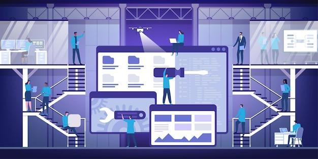 Desarrollo web. concepto plano moderno