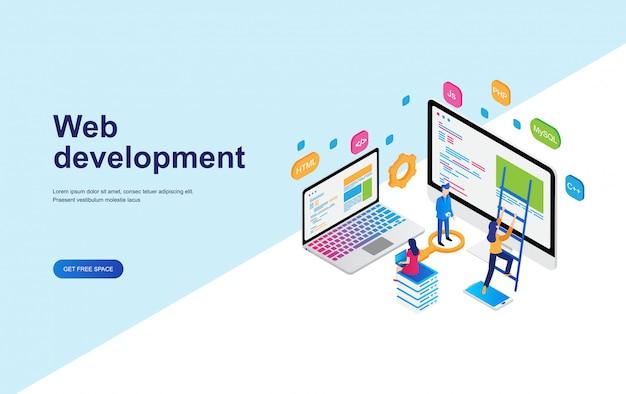 Desarrollo web, concepto de programación diseño isométrico.