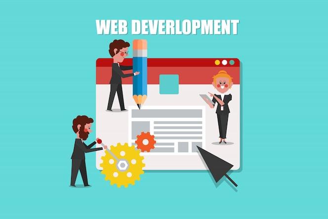 Desarrollo web, diseño de concepto de seo estilo de personaje de dibujos animados