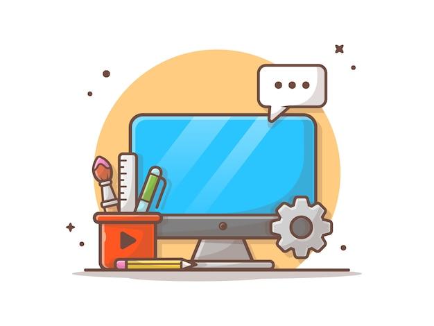 Desarrollo web e ilustración del icono de seo. escritorio, papelería, engranaje, tecnología icono blanco aislado