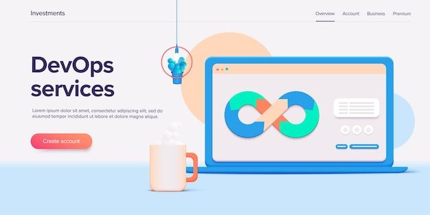 Desarrollo web o concepto devops en diseño 3d