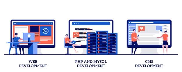 Desarrollo web, php y mysql, sistema de gestión de contenido cms con personas diminutas