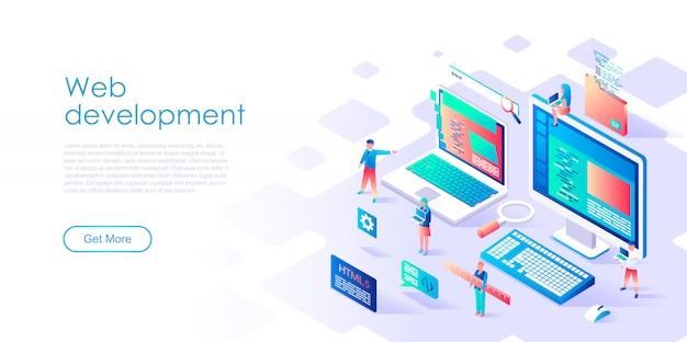 Desarrollo web de plantilla de página de aterrizaje isométrica
