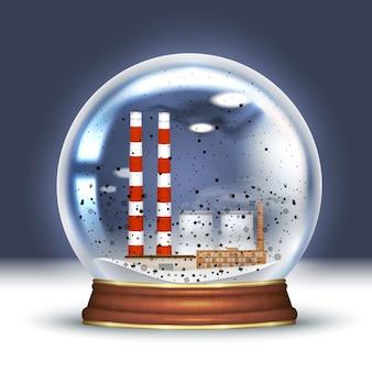 Desastre ecológico, bola de nieve con planta humeante, pipas industriales en el interior y nieve negra. mala ecología, recuerdo ecológico. vector ilustración realista.