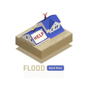 Desastre natural aislado y composición coloreada con título de inundación y botón azul leer más