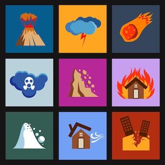 Desastre plano, iconos de vectores de daños